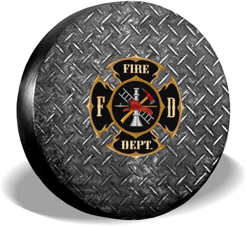Fire Department Logo Firefighter Spare Tire Cover Dust-Proof Waterproof Wheel Covers Sunscreen Corrosion Protection for Trailer RV SUV Truck Camper Travel 14 15 16 17