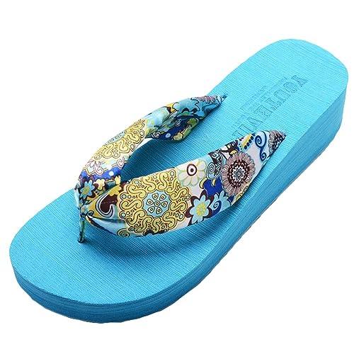 Yiiquan Damen Sommer Plateau Flip Flops Schuhe Sandalen innen  Outdoor Zehentrenner