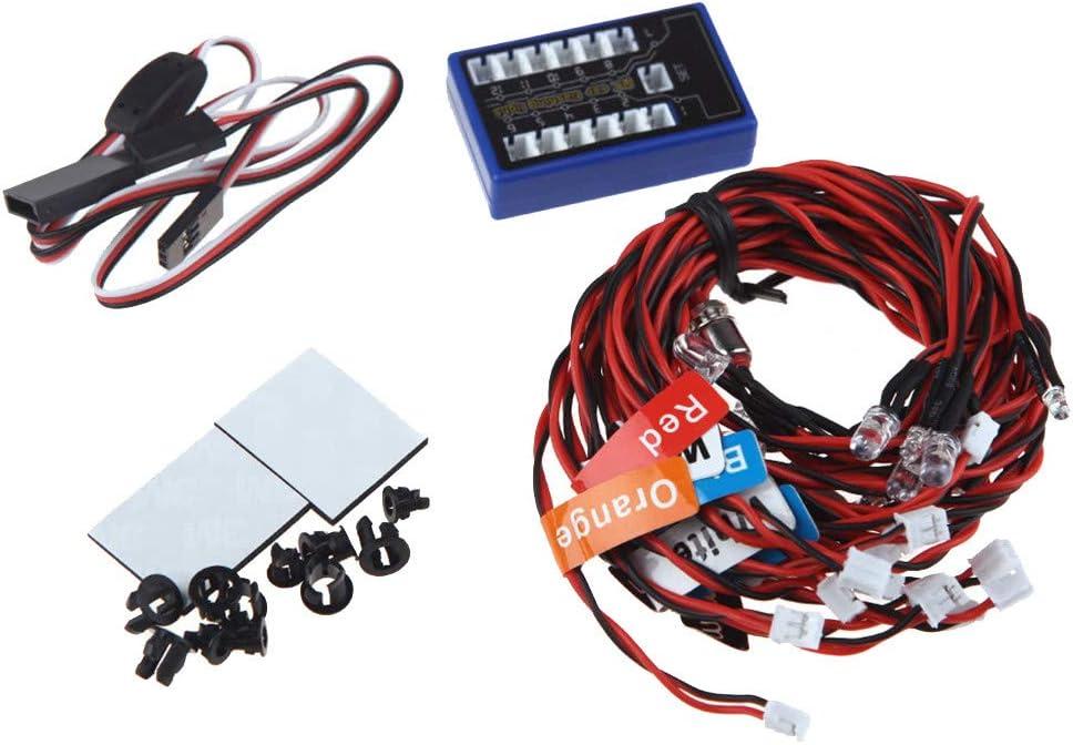 TwoCC Accesorios Rc,12Led Luz Estroboscópica Del Grupo de Luces de Control Remoto Kit de Sistema de Lámpara de Cabeza Intermitente Led Para Traxxas Scx10 1/10 1/8 Rc Car: Amazon.es: Bricolaje y herramientas