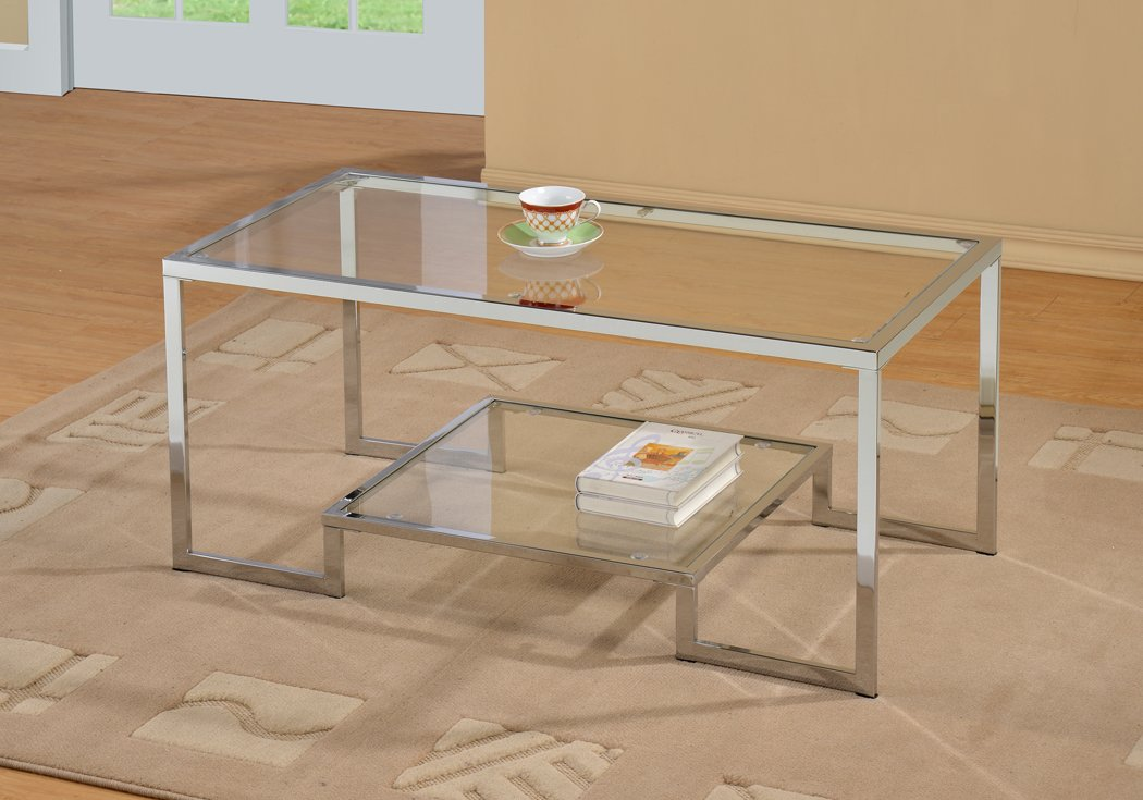 Chrome Metal Glass Accent Coffee Cocktail Table with Shelf by eHomeProducts