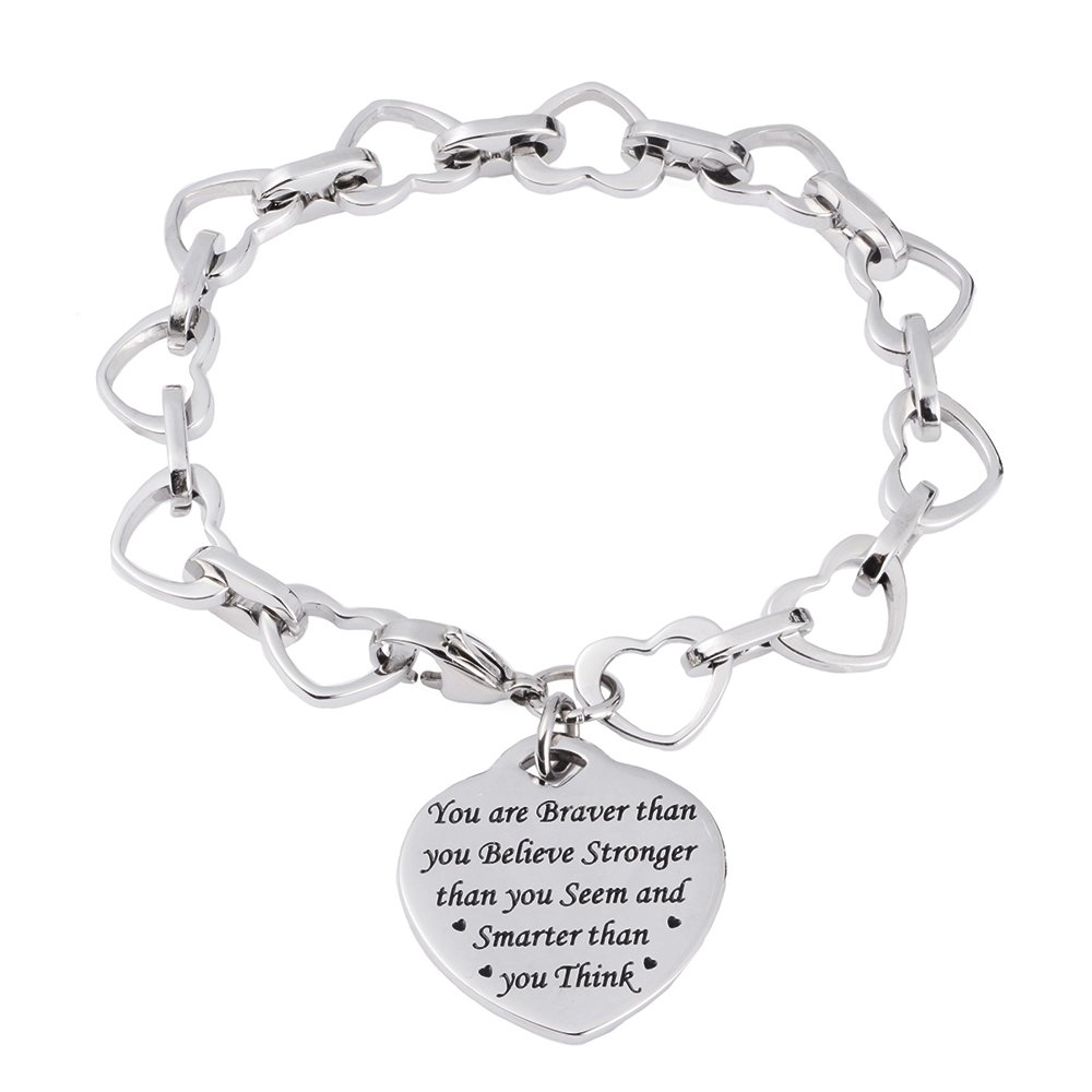 linnalove You are Braver Than You Believe Stronger Than You Seem and Smarter Than You Think Inspirational Bracelet for Boys /& Girl Teens iD-0021-RG