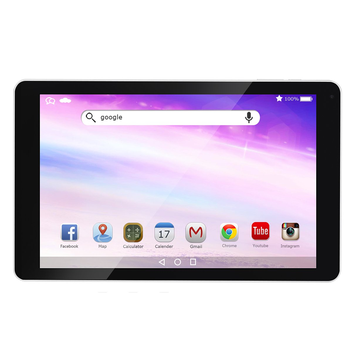 AOSON R102 10-Inch Android 6.0 Marshmallow MTK8163A-B Quad Core Tablet PC 1GB RAM 16GB internal Storage 1280x800 IPS Touch Screen Dual Camera Wi-Fi Bluetooth White rear by Aoson