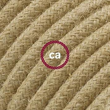 Blanc Creative-Cables Rallonge /électrique avec c/âble textile RN06 Jute 2P 10A Made in Italy 5 M/ètres