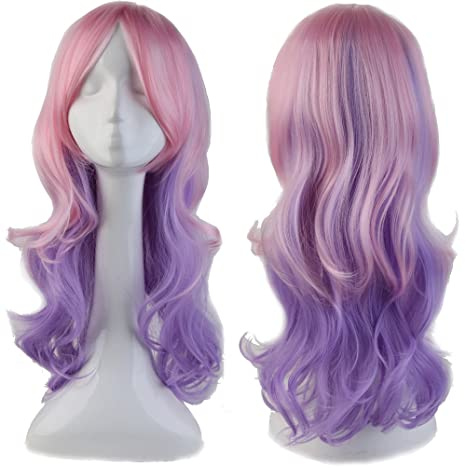 Largo peluca Cosplay Wig 60 cm Mixta Color Ondulado pelo artificial Fiesta Carnaval Günstig Wigs