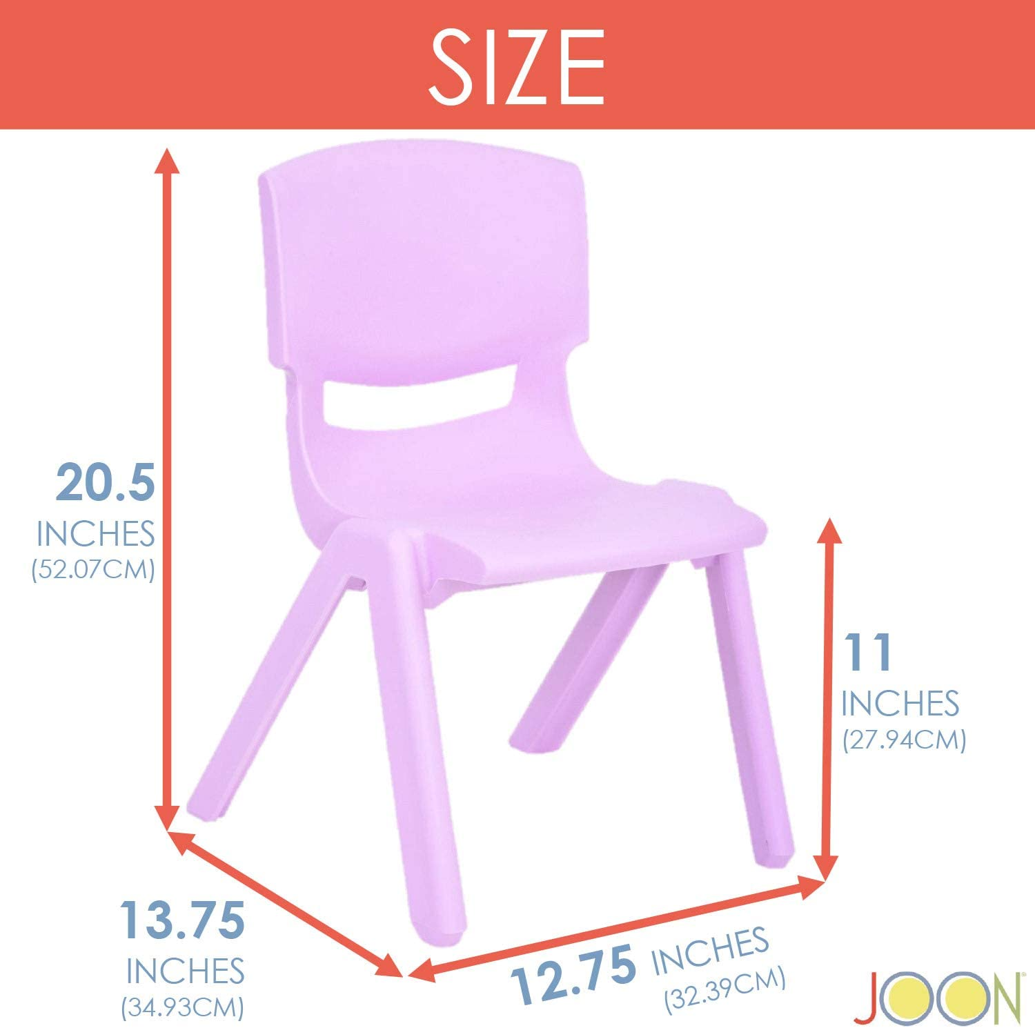 Schools Pink, The Perfect Chair for Playrooms 2-Pack 20.5x12.75X11 Inches JOON Stackable Plastic Kids Learning Chairs Daycares and Home