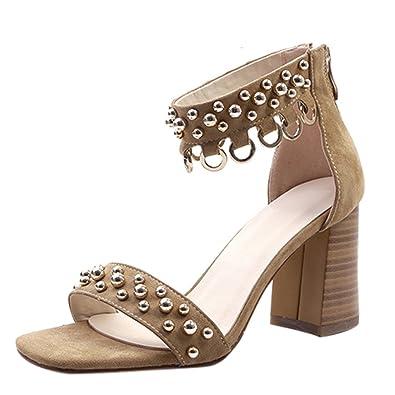 Artfaerie Damen High Heels Blockabsatz Sandalen mit Nieten und Reißverschluss Offen Pumps Modern Schuhe SwZz05ody