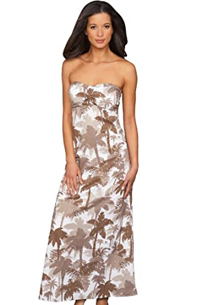 cbed54c18a9 Tommy Bahama Coconut Grove Palm Shirred Bandeau Maxi Dress Size X-Small