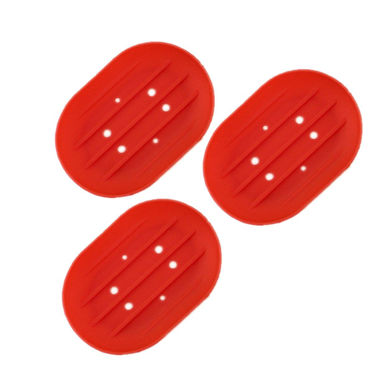 BESTOMZ 3 pezzi portasapone in silicone per mantenere le barre di sapone secco e pulito per il bagno cucina 11.5x8x2cm (rosso)
