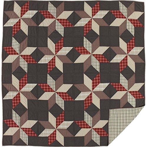 VHC Brands Americana Primitive Bedding-Liberty Stars Blue Quilt, Queen