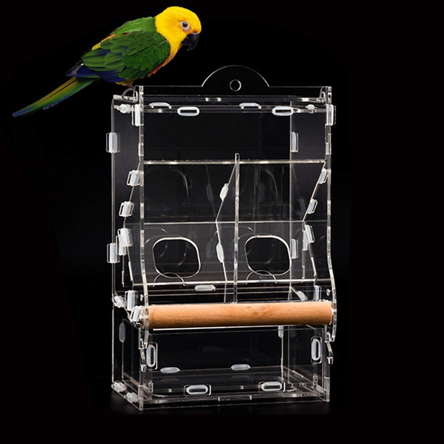 YJJKJ No-Mess Double Bird Feeder, Parrot Automatic Feeder for Budgerigar Canary Lovebird Cockatiel Finch Parakeet Seed Food Feeding Station, with Perch, No Need to Install by YJJKJ