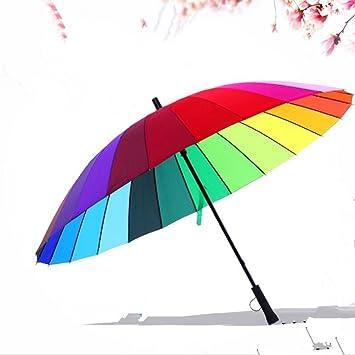 GOLAEkh,Mango recto grande paraguas arco iris super viento paraguas recto,Golpee el paño