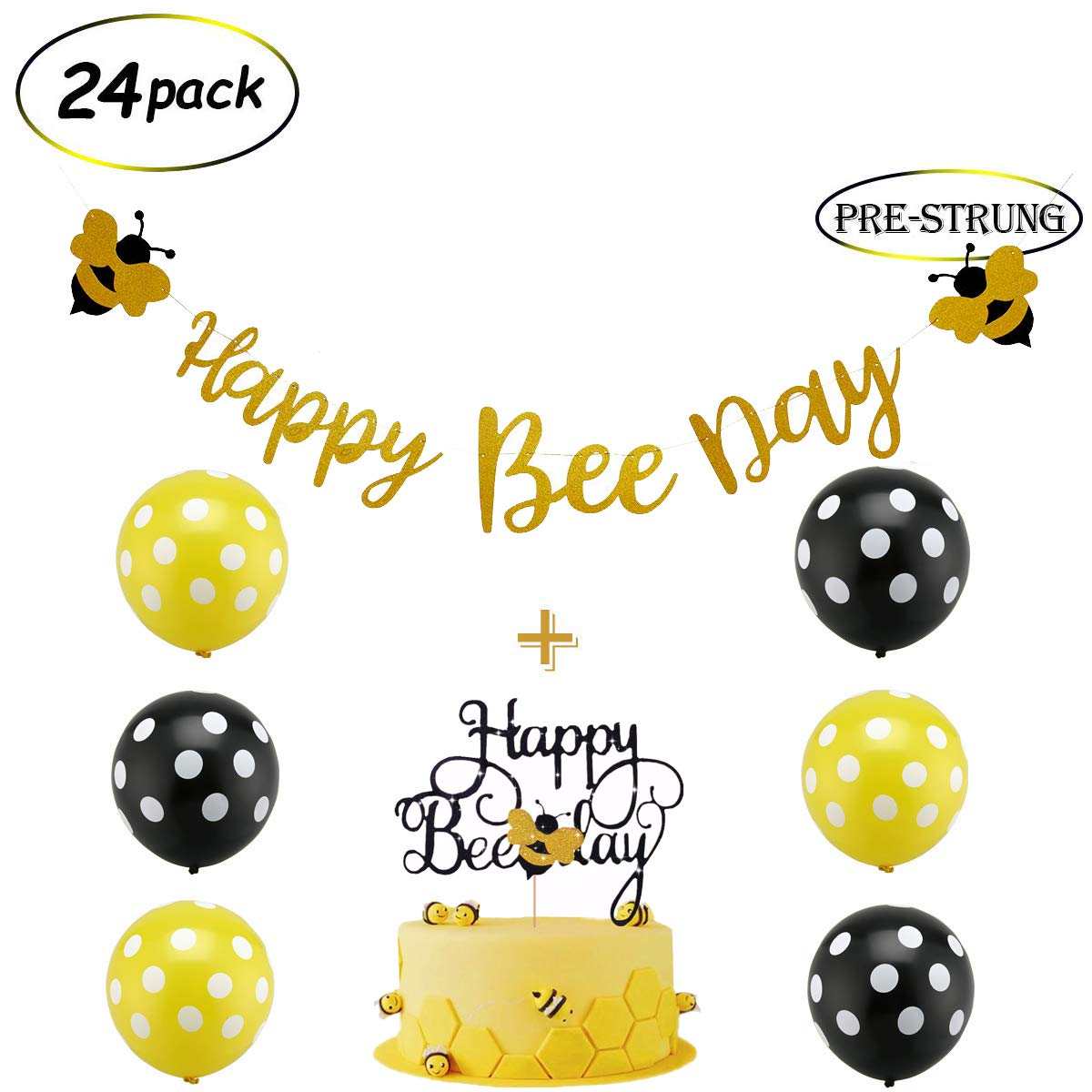 24 Pack Happy Bee Day Gold Glitter Banner & Happy Bee Day Cake Topper Bumblebee Party Decoration Bumble Bee Balloons for Honey Bee Themed Birthday Party Baby Shower Supplies by zorpia