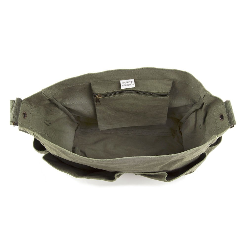 2A Molon Labe Three Percenter Army Heavyweight Canvas Messenger Shoulder Bag in Mocha /& Black