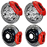 """NEW WILWOOD COMPLETE FRONT & REAR DISC BRAKE KIT WITH LINES, FITTINGS, 12"""" DRILLED ROTORS, RED 6 & 4 PISTON CALIPERS, PADS, 1965 - 1970 FORD MUSTANG, FAIRLANE, FALCON, MAVERICK, RANCHERO, TORINO, MERCURY COUGAR, COMET, CYCLONE, MONTEGO, 1965, 1966, 1967, 1968, 1969, 1970"""