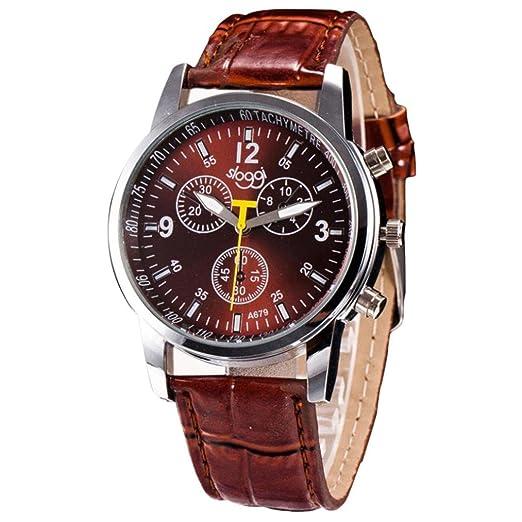 Zarupeng Relojes de pulsera de lujo del reloj de imitación de cuero del cocodrilo de la moda de lujo para hombre (Marrón): Amazon.es: Relojes