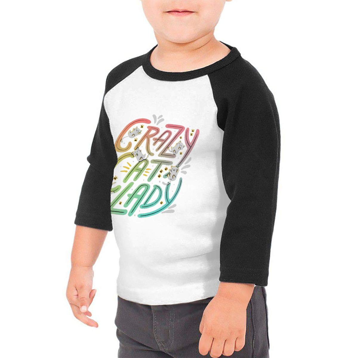 Crazy Cat Lady Unisex Toddler Baseball Jersey Contrast 3//4 Sleeves Tee