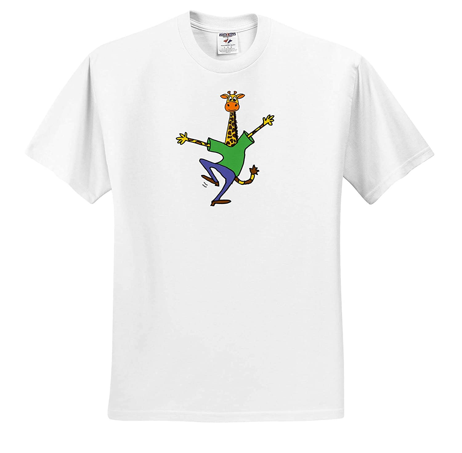 Adult T-Shirt XL ts/_319325 3dRose All Smiles Art Funny Cute Happy Giraffe Dancing Cartoon Funny