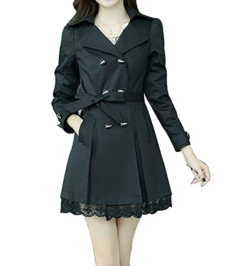 1f1ca6b55 FV RELAY Womens Double-Breasted Bowknot Long Trench Coat with Belt and Lace  Hem