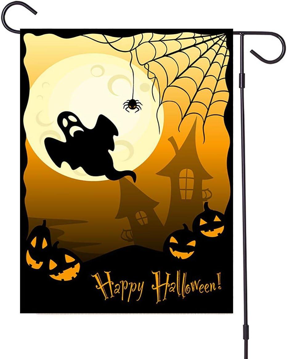 YIRUN Halloween Garden Flag Double Sided Halloween Flag,Halloween Garden Yard Outdoor Decorations,pooky Pumpkin Bat Castle Burlap House Garden Yard Flag 12.5 x 18 Inch (Halloween Flag -B)