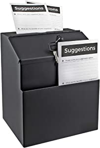 Wall Mountable Steel Suggestion Box with Lock - Donation Box - Collection Box - Ballot Box - Key Drop Box (Black) with 25 Free Suggestion Cards
