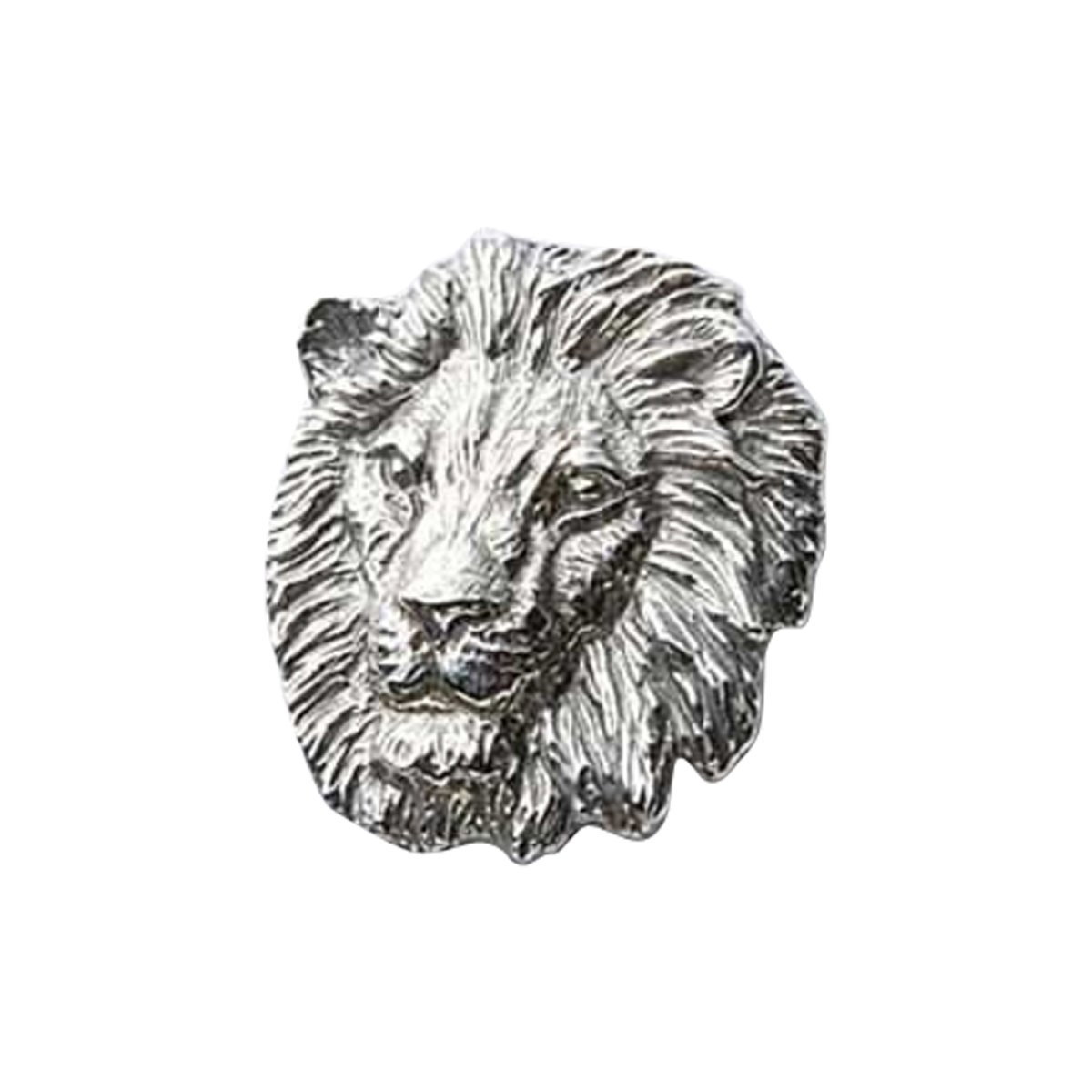 Creative Pewter Designs Pewter Lion, Handcrafted Lapel Pin Brooch, Pewter Finish, M102
