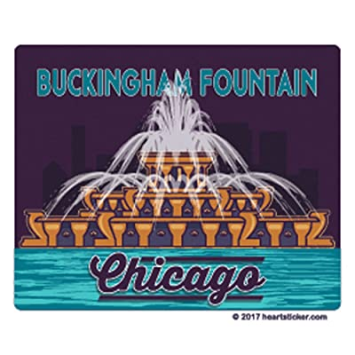 Chicago Sticker | Buckingham Fountain | Die Cut Luggage Label | Apply to Mug Phone Laptop Water Bottle Decal Cooler Bumper | Windy City Bean Cloud Gate Bear Cub Sox Water Tower Fire Illinois ORD 312: Automotive