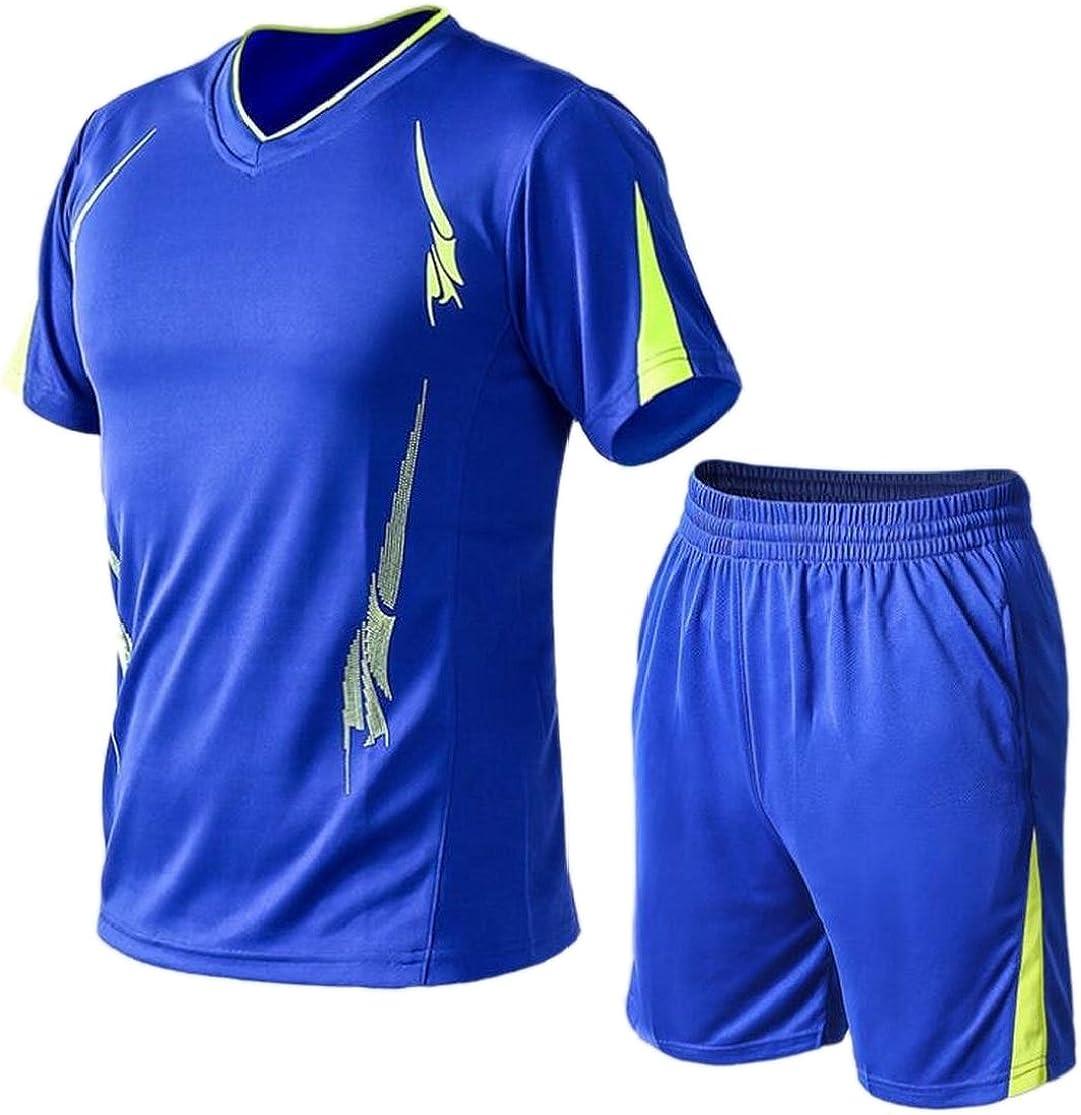 M/&S/&W Running Sports Set Mens Sport Short Sleeve Tee Athletic Shorts