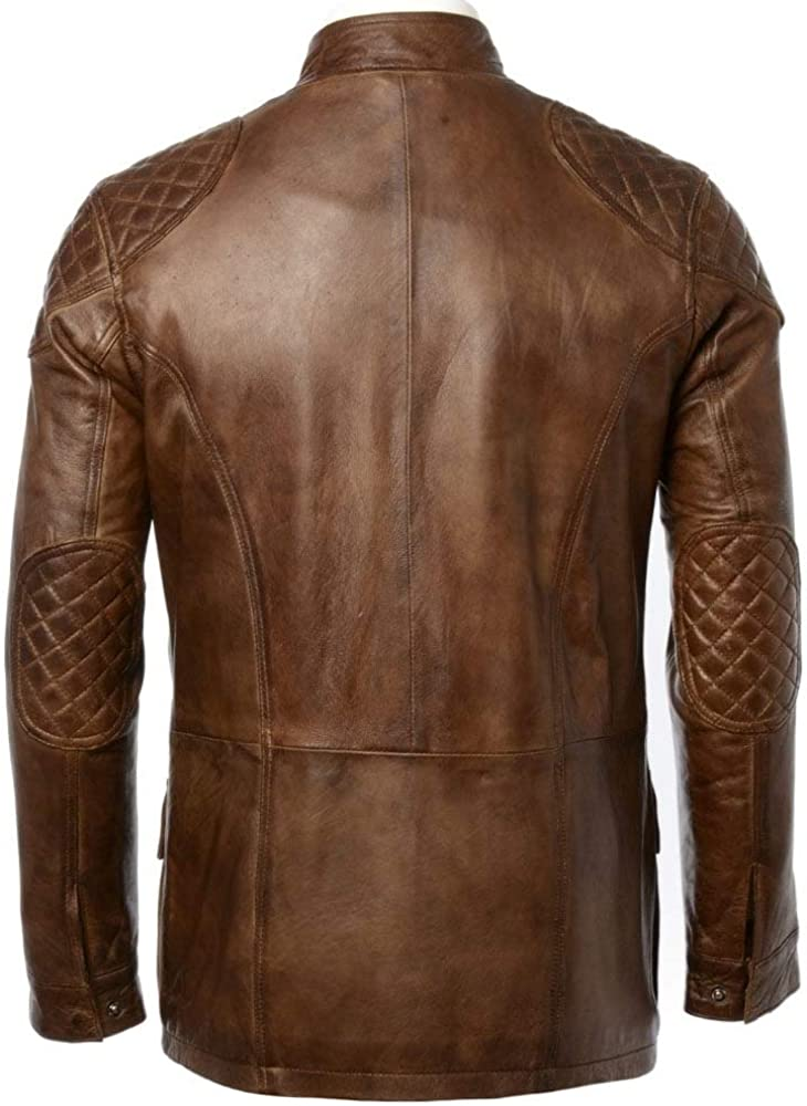 Charlie LONDON Mens Soft Black Leather Biker Long Jacket - Three Quarter Brontes Jacket Vintage Brown
