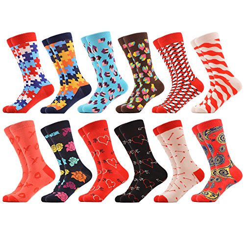 WeciBor Men's Dress Cool Valentine's Day Love Funny Casual Combed Cotton Crew Socks Pack