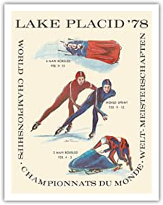 Amazon Com Lake Placid 1978 World Championships World Sprint Bobsledding Vintage Travel Poster By Arti Torrance C 1978 Fine Art Print 11in X 14in Posters Prints