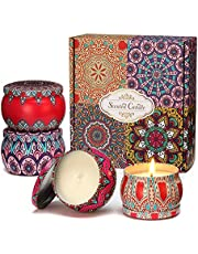 Scented Candles Gift Set, 4 Pack 100% Soy Wax Tin Candle 4.4/4 OZ 25 Hours Burn Time Portable Aromatherapy Set for Women Bath Yoga Spa Home Birthday Stress Relief