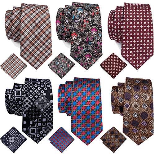 (Barry.Wang Mens Tie Set, 6 Lot Silk Plaid Check Neckties Hankerchief Cufflinks Set)