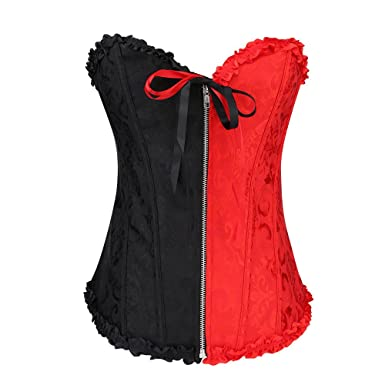 580d41b4960 Women Corset Lingerie Black Red Push Up Plus Size Waist Trainer Corset  Cincher Bustier Top with Zipper at Amazon Women s Clothing store