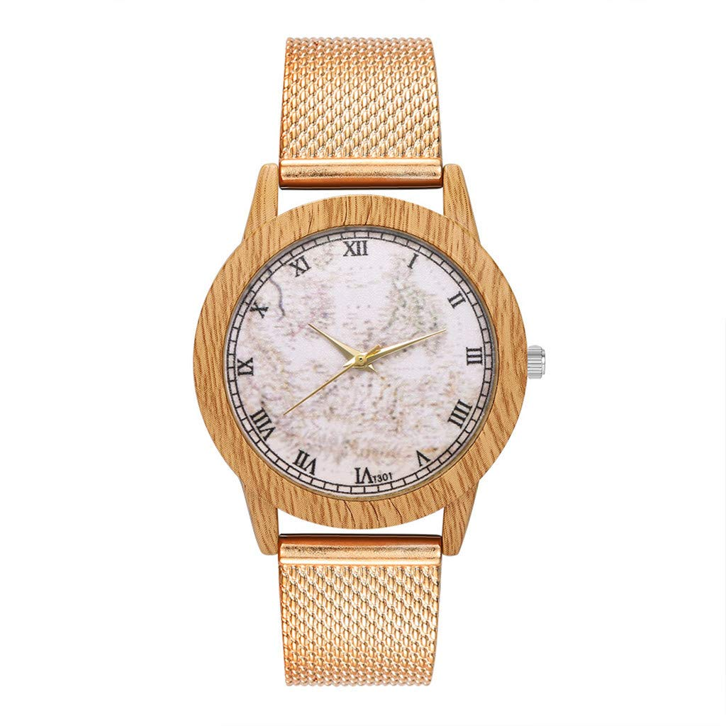 BBestseller Relojes Pulsera Mujer,Impermeable Correa de Silicona de Grano de Madera de Imitación Redondo Clásico Relojes (Oro Rosa): Amazon.es: Relojes