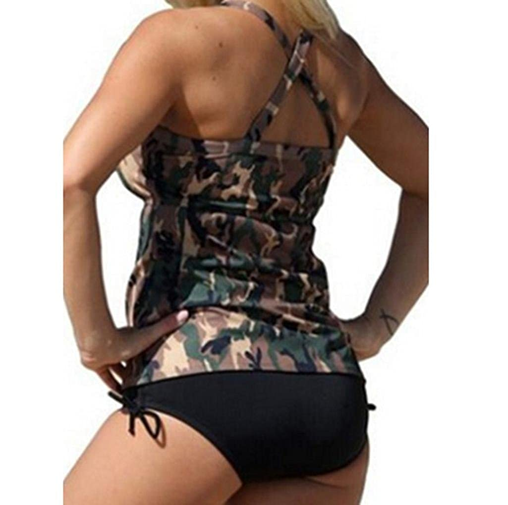 40cc8607a48 Malloom Women's Plus Size Camouflage Swimsuit Monokini Bathsuit Two Piece  Bikini Set at Amazon Women's Clothing store:
