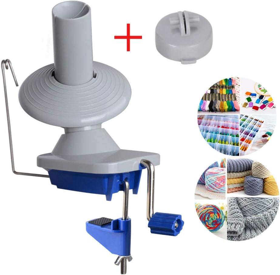 Bobinadora Enrollador de Hilos Lana Bola Devanadora de hilo Ovilladora Manual Rebobinador Fácil de Instalar con Manija de Metal y Alfombrilla de Goma Antideslizante Color Azul