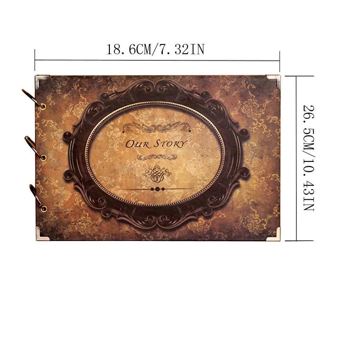 Yeelan Álbum de Fotos DIY Scrapbook, 10 Pulgadas (Nuestra Historia, Espejo Redondo, Estilo Vintage)
