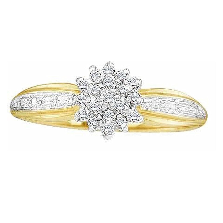 0.10 Carat (ctw) 10k Yellow Gold Round Cut White Diamond Ladies Cluster Promise Ring 1/10 CT