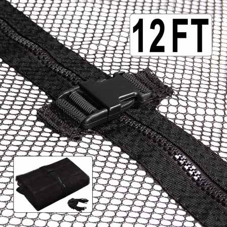 Durable-Black-12-Ft-Trampoline-Enclosure-Safety-Mesh-Net-71-Height-Replacement-Screen-Netting-Zip-Strap-Buckle-Closure-Polyester-Fabric-for-Home-Jumper-Bouncer