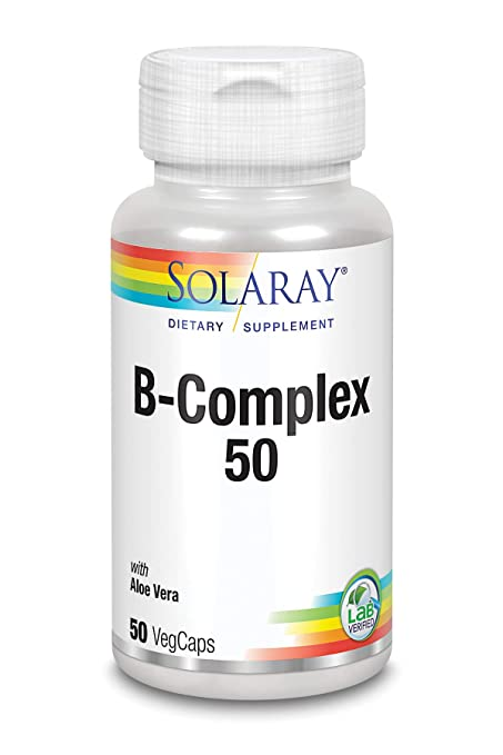 SOLARAY® B complex 50. 50 VegCaps. Las Vitaminas B contribuyen al normal funcionamiento del sistema nervioso. Sin gluten. Apto para veganos.