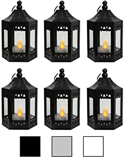 Amazon decorative lanterns set of 12 each with an led 6pc mini black candle lanterns with flickering led tea light candle batteries included workwithnaturefo
