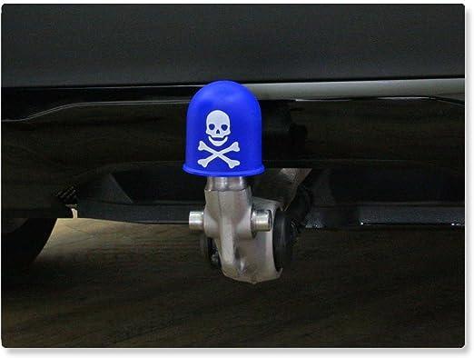 Schutzkappe Anhängerkupplung Deckel Schädel Trike Quad Skull Totenkopf Blau Auto