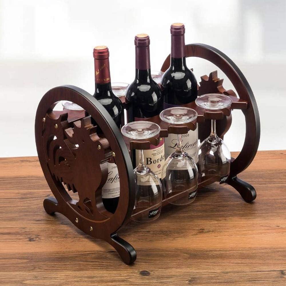 ワインラック・ホルダー ワイングラスは、ワインキャビネット装飾シンプルな組み立てワインストレージ木製ワインラックヨーロッパのブドウのラックラック ワインストレージ 家飾り (Color : Brown, Size : 27x33x28cm)