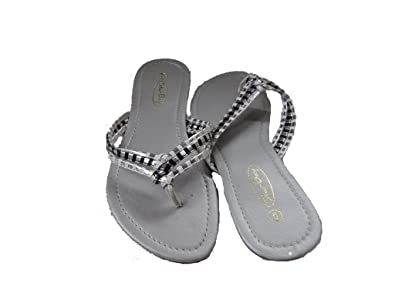 Starbay Luna-2522 Womens Summer Thong Flip-Flop Fashion Braided Design Sandals With Small Wedge Black