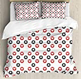 Lunarable Casino Duvet Cover Set Queen Size, Spotted Pattern Playing Card Symbols Blackjack Gaming Ornaments Vintage Style, Decorative 3 Piece Bedding Set with 2 Pillow Shams, Black White Red