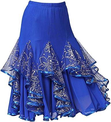 Hellery Falda de Flamenco Midi Volante Bordada de Lentejuelas ...