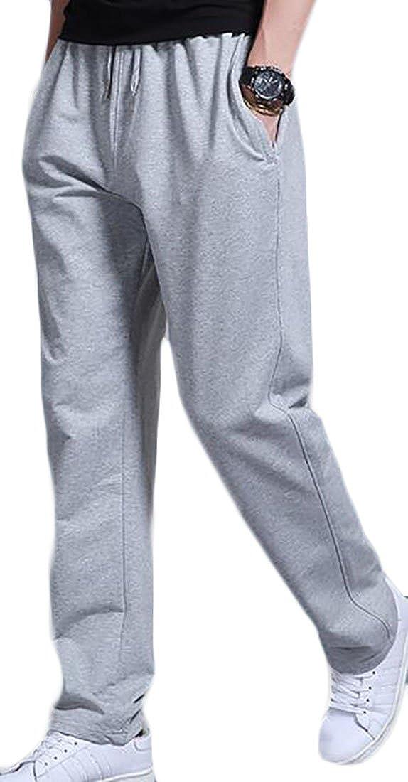 Cruiize Men's Winter Thick Warm Elastic Waist Straight-Leg Sweatpants Pants