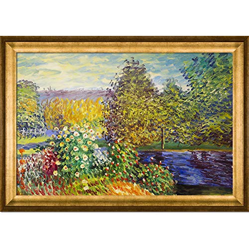 overstockArt Corner of the Garden at Montgeron Oil Painting by Monet, Athenian Gold Frame