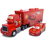 """Pixar Cars """"Lightning McQueen"""" with Mack Truck Collectible / Toy"""
