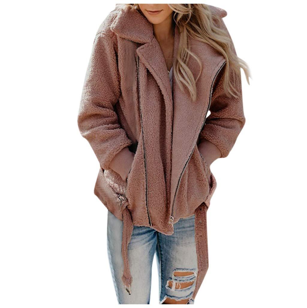 FEDULK Womens Plus Size Faux Fur Jacket Lapel Zip Up Shearling Fuzzy Fleece Fall Winter Warm Coat Outwear(Pink, Large) by FEDULK